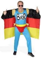Das Deutschland Fussball Fan Kostüm - Biermann Comic Helden Kostüm für richtige Fans - Größe S-XXL - WM 2022 EM 2020 Fanartikel Party Flagge Germany Größe L