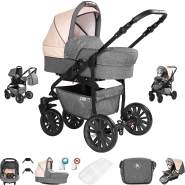 Friedrich Hugo Berlin | 3 in 1 Kombi Kinderwagen Komplettset | GEL Reifen | Farbe: Grey and Beige Night