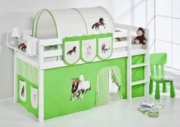 Lilokids 'Jelle' Spielbett 90 x 200 cm, Pferde Grün Beige, Kiefer massiv, mit Vorhang