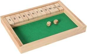 Bartl 109963 Klappenspiel, Shut The Box, Würfelspiel, hochwertige Ausführung aus Buchenholz, Made in Germany