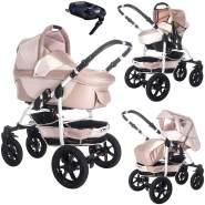 Bebebi Sidney | ISOFIX Basis & Autositz | 4 in 1 Kombi Kinderwagen | Hartgummireifen | Farbe: Nosa