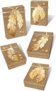 Ursus 27930099F - Geschenkboxen Set Federn, creme / gold, 2 große und 3 kleine Boxen, vorgestanzt und genutet, inklusive Bastelanleitung, ideal für kleine Überraschungen