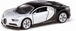 SIKU 1508, Bugatti Chiron Sportwagen, Spielzeugauto für Kinder, Metall/Kunststoff, Silber/Schwarz, Öffnende Türen