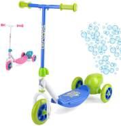 3-wiel kinderstep Bubble Scooter Jungen Fußbremse Grün/Blau