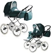 Bebebi Loving | 2 in 1 Kombi Kinderwagen | Nostalgie Kinderwagen | Farbe: Green Tender
