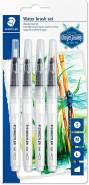 Staedtler 949-SBK4-C Wasserpinsel (zum Aquarellieren, Malen und Blenden, gleichmäßige Wasserabgabe, robuste Nylonspitze für Formstabilität, Set mit 4 verschiedenen Pinselspitzen)