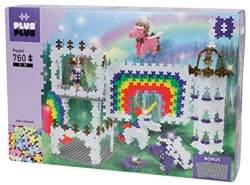 Plus-Plus 9603775 Geniales Konstruktionsspielzeug, Regenbogen Schloss, Pastel, Bausteine-Set, 760 Teile