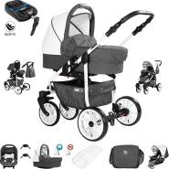 Friedrich Hugo Berlin | 4 in 1 Kombi Kinderwagen + ISOFIX| Luftreifen | Farbe: Dark Grey and White Day