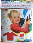 Idena 60002 - Bastelschürze für Kinder von 7 - 8 Jahren mit langen Ärmeln und Klettverschluss, inklusive Malunterlage, perfekt zum Malen, Basteln, Kochen und Matschen, rot