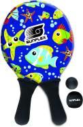 Sunflex Jerseyprene Beachball Set Youngster Seaworld mit Zwei Schlägern und Zwei Bällen|kleinere Schlagfläche und kleinerer Griff für Kinder|weich und leicht|extrem robust und wasserfest