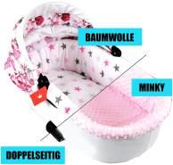 BABYLUX Nestchen für Kinderwagen Stubenwagen BABYWANNE + Matratze 2 Tlg Set Doppelseitig (W10 - Rosa + Sterne)