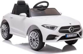 ES-Toys Kinder Elektroauto Mercedes CLS350 EVA-Reifen, Ledersitz, Fernbedienung weiß
