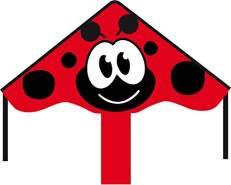 HQ Windspiration 102144 - Simple Flyer Ladybug 85cm Kinderdrachen Einleiner, ab 5 Jahren, 42x85cm und 1.5m Drachenschwanz, inkl. 17kp Polyesterschnur 25m auf Griff, 2-5 Beaufort