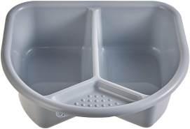 Rotho 'TOP' Waschschüssel Stone Grey, 2 Liter Fassungsvermögen, mit 2 Fächern und einer kleinen Ablage