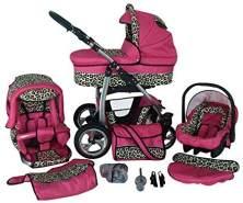 Kinderwagen 3in1 2in1 Set Isofix Buggy Babywanne Autositz D-Deluxe by SaintBaby Pink & Leopard 3in1 mit Babyschale