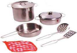 Home and Kitchen Edelstahl-Kochtopfset für die Kinderküche - Spielküche 8 teilig bestehend aus Kochtopf, Pfannen mit Deckel, Pfannenwender, Topflappen und Schöpflöffel