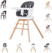 Chipolino Hochstuhl 3 in 1 Rotto, Kinderstuhl, drehbarer Sitz, Höhe verstellbar dunkelgrau