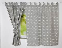 BabyLux 'Sterne' Vorhänge mit Schlaufen, grau