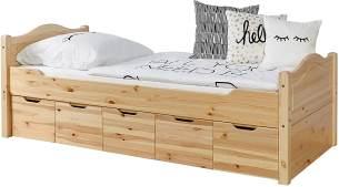 Ticaa Einzelbett 'Leni' 100x200 Kiefer massiv - mit 5er Schubkästen - natur