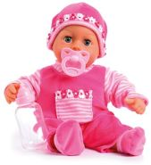 Bayer Design 9380003 Babypuppe First Words mit Schlafaugen, 24 Babylaute, 38 cm, pink