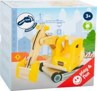 Small Foot 12010 Schaufelbagger aus Holz, FSC 100%-Zertifiziert, beweglicher Baggerarm, 360 Grad drehbar, für die heimische Baustelle Spielzeug, Mehrfarbig