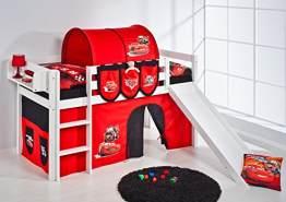 Lilokids 'Jelle' Spielbett 90 x 200 cm, Disney Cars, Kiefer massiv, mit Rutsche und Vorhang