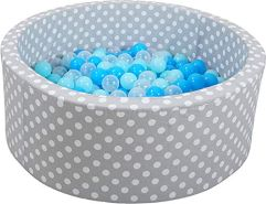 Knorrtoys 68153 - Bällebad Soft - Grey White dots - 300 Bälle Soft Blue/Blue/transparent