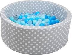 Knorrtoys 68153 - Bällebad Soft - Grey White dots - 300 Bälle Soft Blue/Blue/transparent