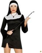 süßes kurzes Nonnen Karneval Fasching Kostüm Damen Kloster Kirche schwarz Gr. M-L, Größe:L