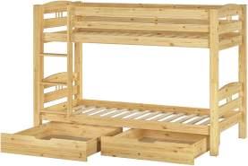 Erst-Holz Etagenbett Kiefer natur 90x200 inkl. Bettkästen
