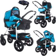 Bebebi Sidney | ISOFIX Basis & Autositz | 4 in 1 Kombi Kinderwagen | Hartgummireifen | Farbe: Great Barrier Reef