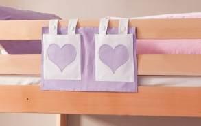 Stofftasche Seitentasche Hängetasche für Hochbett Etagenbett Lila/Weiß
