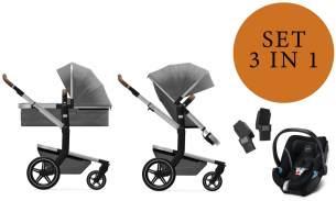 Joolz 'Day+' Kombikinderwangen 3in1 2020 in Radiant Grey, inkl. Cybex Aton 5 Babyschale in Soho Grey