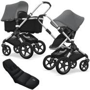 Bugaboo Fox Kinderwagen Grey Melange mit High Performance Fußsack, inkl. Gestell Alu