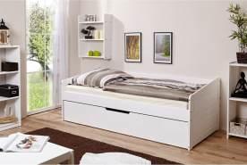 Ticaa 'Micki' Sofabett 90x200 cm, Kiefer massiv weiß, inkl. Schublade 'Marianne'