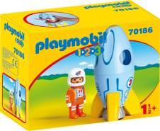 Playmobil 1.2.3 70186 'Astronaut mit Rakete', 2 Teile, ab 1,5 Jahren