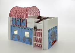 Steens for Kids Hochbett mit Tunnel, Vorhang, Farbe Zirkus blau, Kiefer massiv