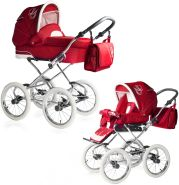 Bebebi Loving | 2 in 1 Kombi Kinderwagen | Nostalgie Kinderwagen | Farbe: Red Tender