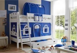 Ticaa 'Kenny' Etagenbett weiß inkl. Vorhang weiß/blau