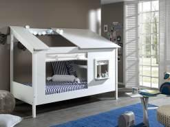 Baumhaus Bett 90 x 200 cm Liegefläche, inkl. Vorhang Set, offenes Dach in Weiß