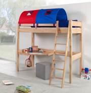 Relita 'RENATE' Multifunktionsbett mit Schreibtisch Buche, Stoffset Blau/Rot mit Matratze