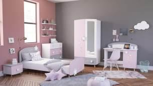 Demeyere 'Stella' 4-tlg. Kinderzimmer-Set matt weiß/grau/rosa