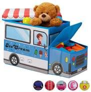 Relaxdays 'Eiswagen' Staubox mit Deckel blau