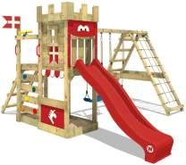WICKEY Spielturm Ritterburg DragonFlyer mit Schaukel & roter Rutsche, Spielhaus mit Sandkasten, Kletterleiter & Spiel-Zubehör