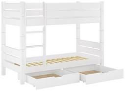 Erst-Holz Massivholz-Etagenbett weiß 90x200 Nische 80cm teilbar