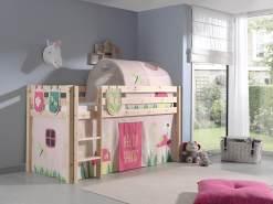 Spielbett Pino mit Textilset Vorhang, Tunnel und 3 Taschen 'Spring'
