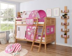 Ticaa 'Erni' Etagenbett Country Buche Natur, 90 x 200 cm, Vorhang Horse-Pink (Ausführung 1)