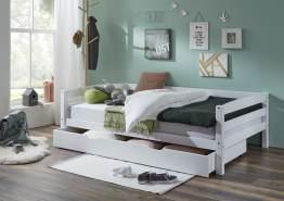 Relita Einzelbett Nora mit Bettkasten in Buche massiv, ohne Lattenrost, weiß lackiert, Liegefläche 120x200 cm, Bettkasten 90x190 cm