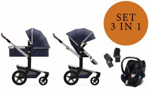 Joolz 'Day+' Kombikinderwangen 3in1 2020 in Classic Blue, inkl. Cybex Aton 5 Babyschale in Deep Black