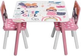 WOLTU Kindersitzgruppe Tisch-Set aus MDF rosa